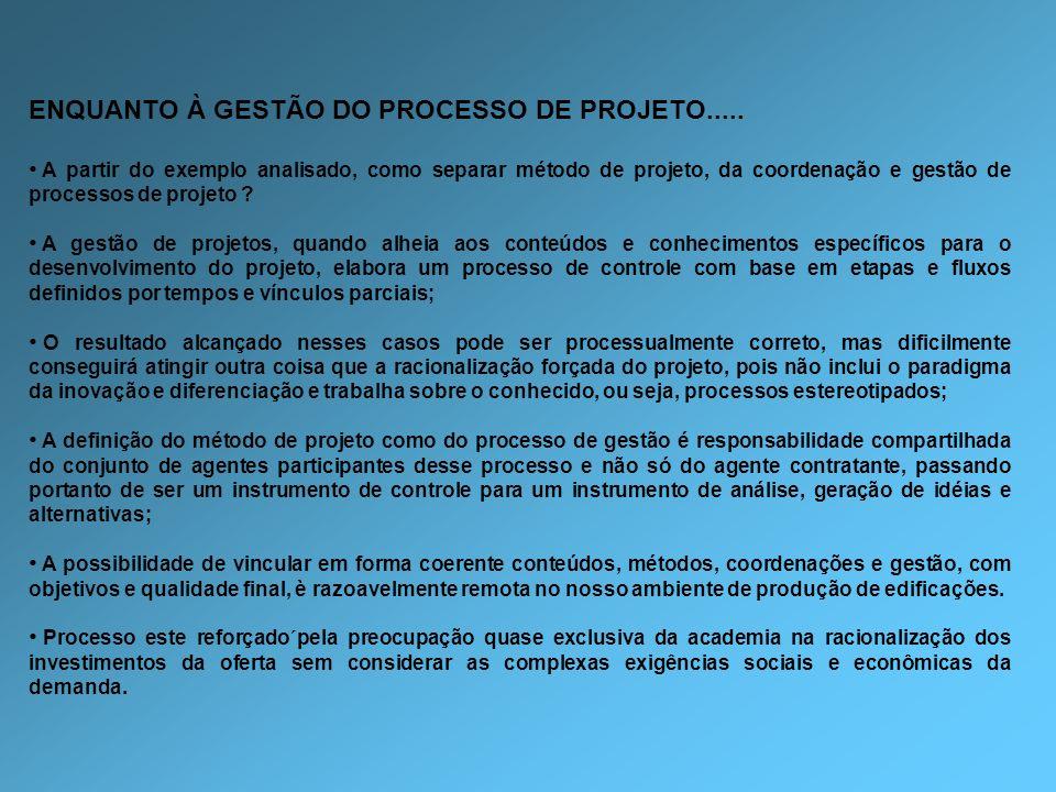 ENQUANTO À GESTÃO DO PROCESSO DE PROJETO..... A partir do exemplo analisado, como separar método de projeto, da coordenação e gestão de processos de p