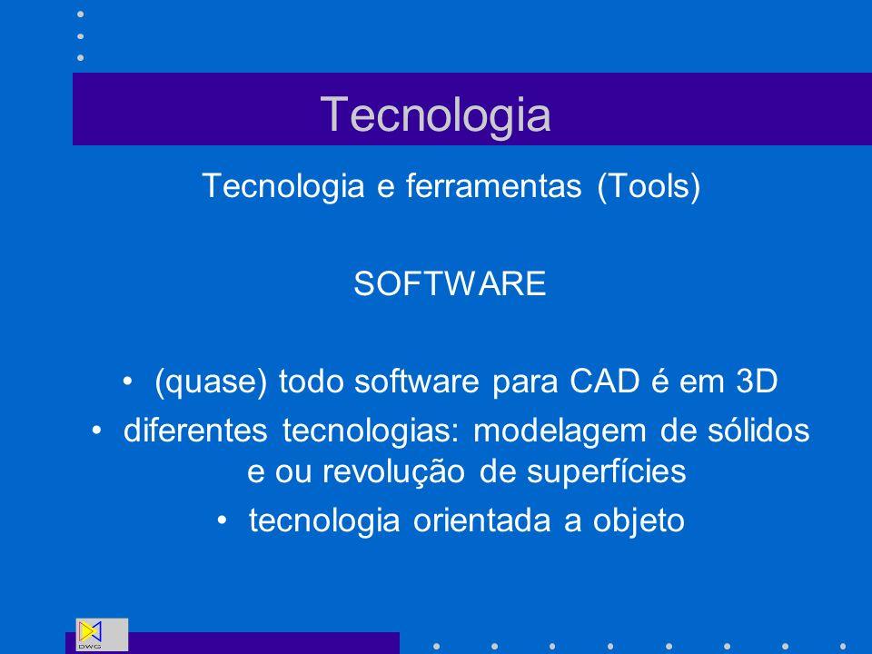 Tecnologia Tecnologia e ferramentas (Tools) SOFTWARE (quase) todo software para CAD é em 3D diferentes tecnologias: modelagem de sólidos e ou revoluçã