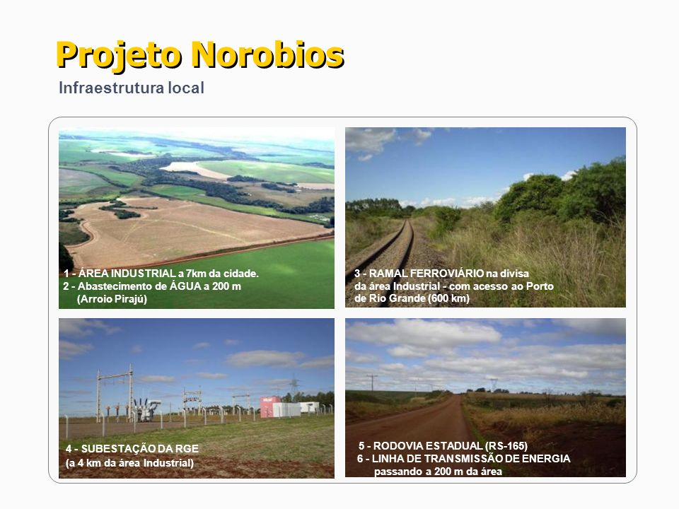 4 - SUBESTAÇÃO DA RGE (a 4 km da área Industrial) 3 - RAMAL FERROVIÁRIO na divisa da área Industrial - com acesso ao Porto de Rio Grande (600 km) 1 -