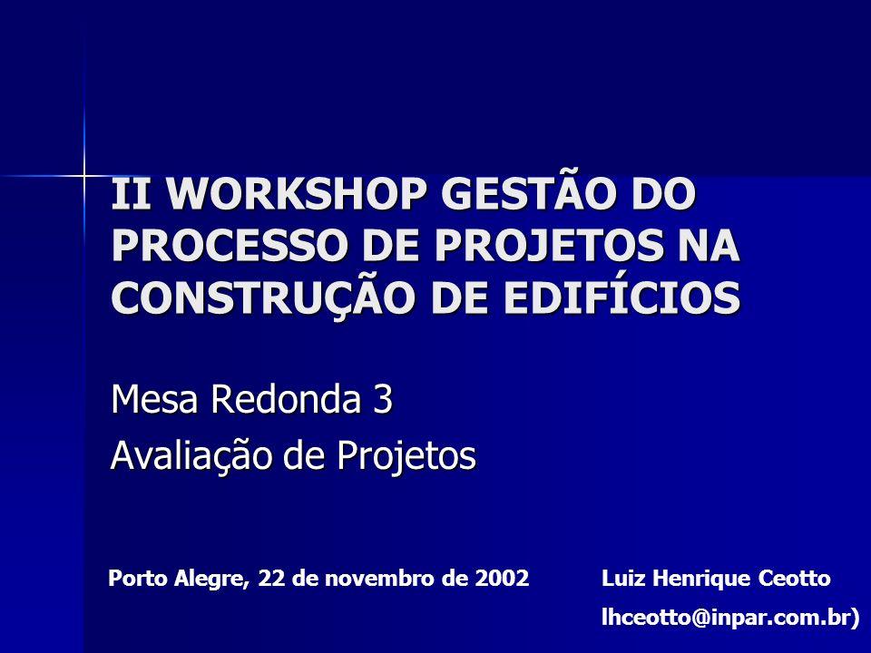 II WORKSHOP GESTÃO DO PROCESSO DE PROJETOS NA CONSTRUÇÃO DE EDIFÍCIOS Mesa Redonda 3 Avaliação de Projetos Luiz Henrique Ceotto lhceotto@inpar.com.br)