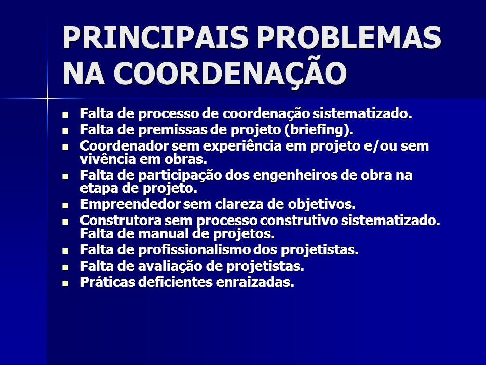 PRINCIPAIS PROBLEMAS NA COORDENAÇÃO Falta de processo de coordenação sistematizado. Falta de processo de coordenação sistematizado. Falta de premissas