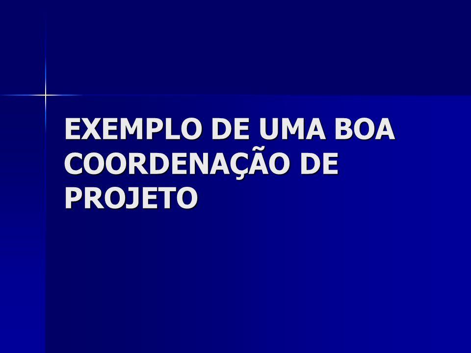EXEMPLO DE UMA BOA COORDENAÇÃO DE PROJETO