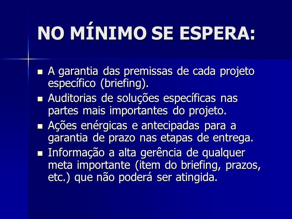 NO MÍNIMO SE ESPERA: A garantia das premissas de cada projeto específico (briefing). A garantia das premissas de cada projeto específico (briefing). A