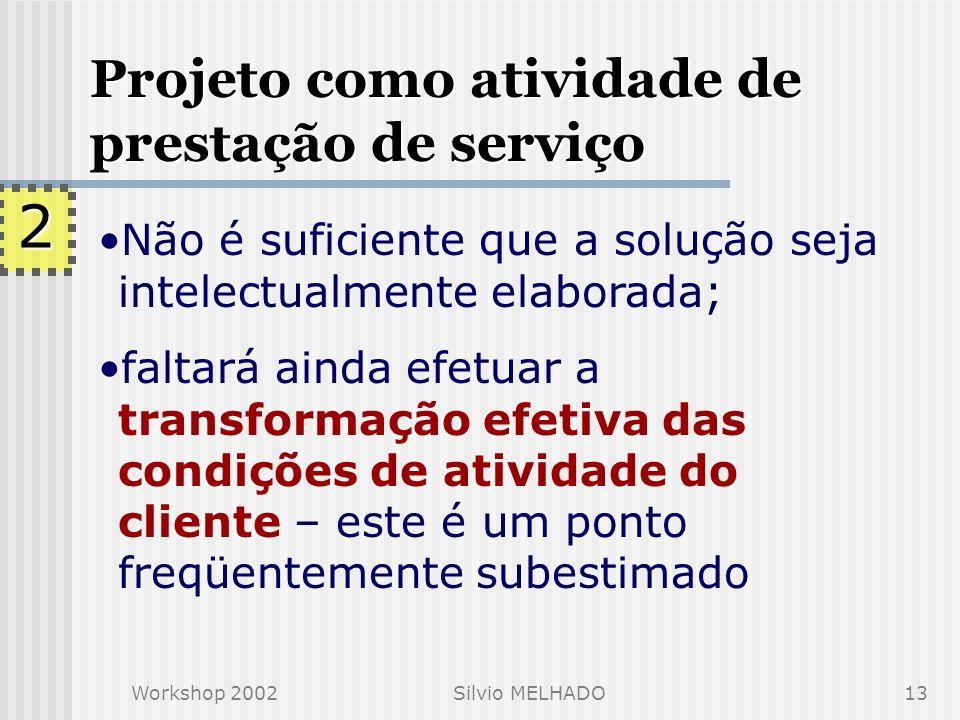 Workshop 2002Silvio MELHADO12 Projeto como atividade de prestação de serviço prestação de serviço de natureza intelectual, o projeto deve estar orient