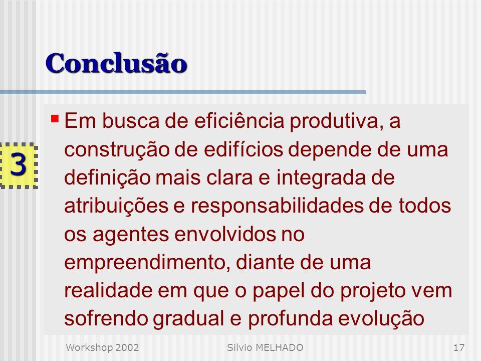 Workshop 2002Silvio MELHADO16 CONCLUSÃO 3