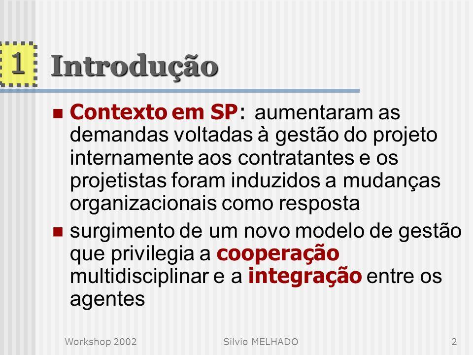 Workshop 2002Silvio MELHADO1 COORDENAÇÃO E MULTIDISCIPLINARIDADE DO PROCESSO DE PROJETO: DISCUSSÃO DA POSTURA DO ARQUITETO Silvio MELHADO 22/nov/2002