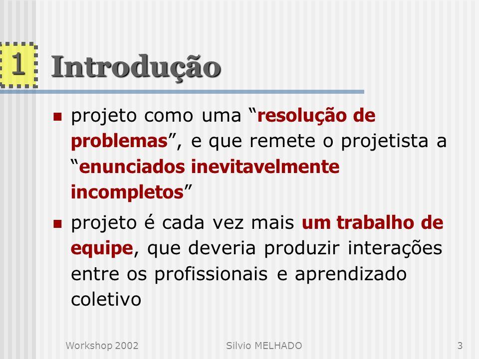 Workshop 2002Silvio MELHADO2 Introdução Contexto em SP : aumentaram as demandas voltadas à gestão do projeto internamente aos contratantes e os projet