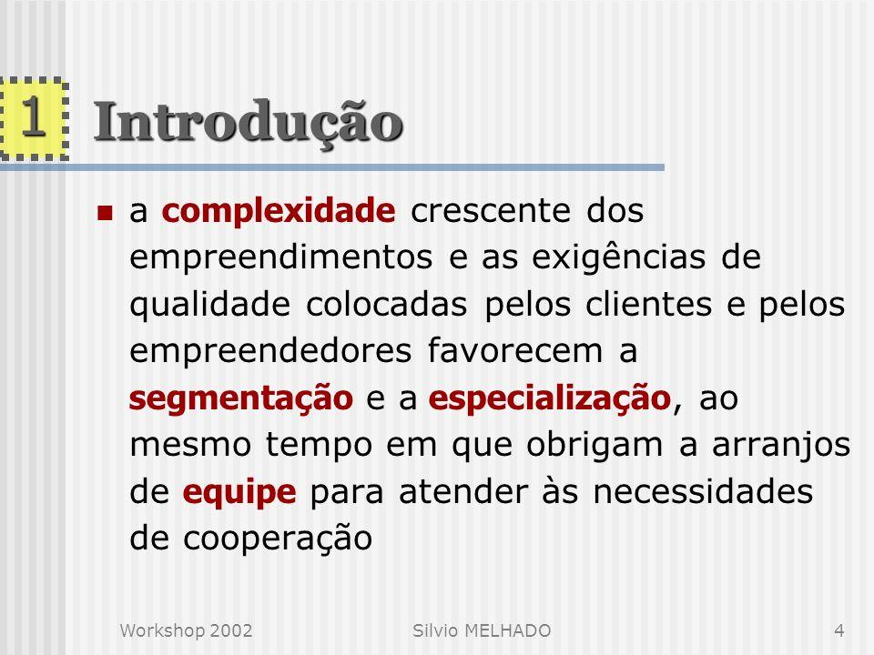 Workshop 2002Silvio MELHADO3 projeto como uma resolução de problemas, e que remete o projetista a enunciados inevitavelmente incompletos projeto é cad