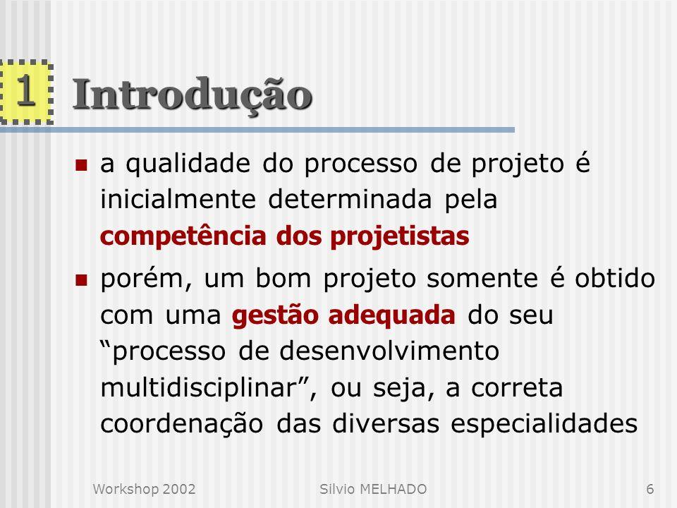Workshop 2002Silvio MELHADO5 o projeto é um processo iterativo e coletivo, exigindo assim uma coordenação do conjunto das atividades envolvidas, compr