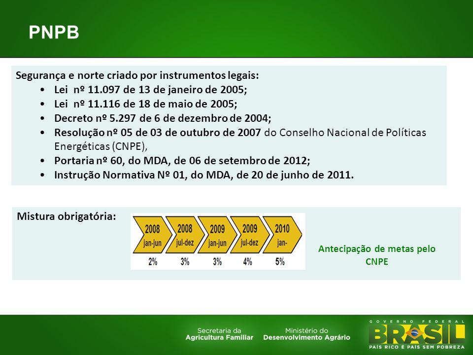 PNPB Segurança e norte criado por instrumentos legais: Lei nº 11.097 de 13 de janeiro de 2005; Lei nº 11.116 de 18 de maio de 2005; Decreto nº 5.297 d