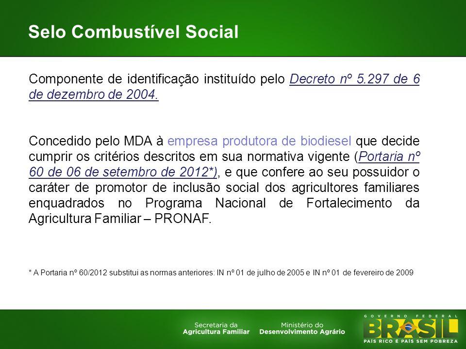 Selo Combustível Social Componente de identificação instituído pelo Decreto nº 5.297 de 6 de dezembro de 2004. Concedido pelo MDA à empresa produtora