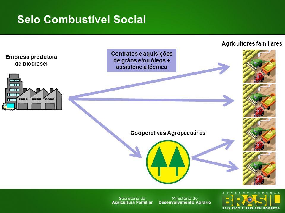 Selo Combustível Social Empresa produtora de biodiesel Cooperativas Agropecuárias Agricultores familiares Contratos e aquisições de grãos e/ou óleos +