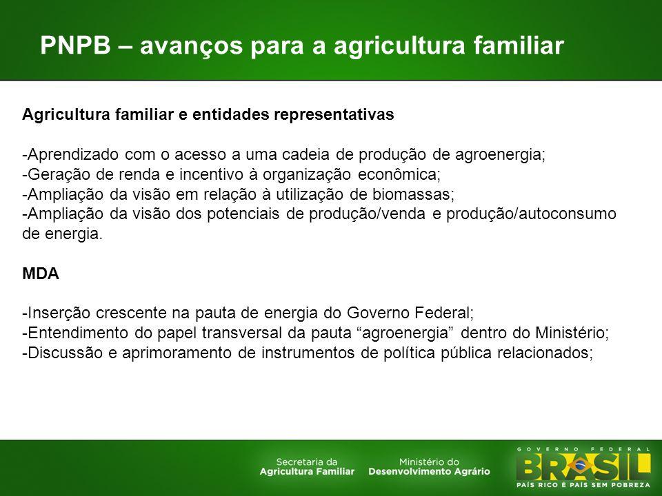 PNPB – avanços para a agricultura familiar Agricultura familiar e entidades representativas -Aprendizado com o acesso a uma cadeia de produção de agro