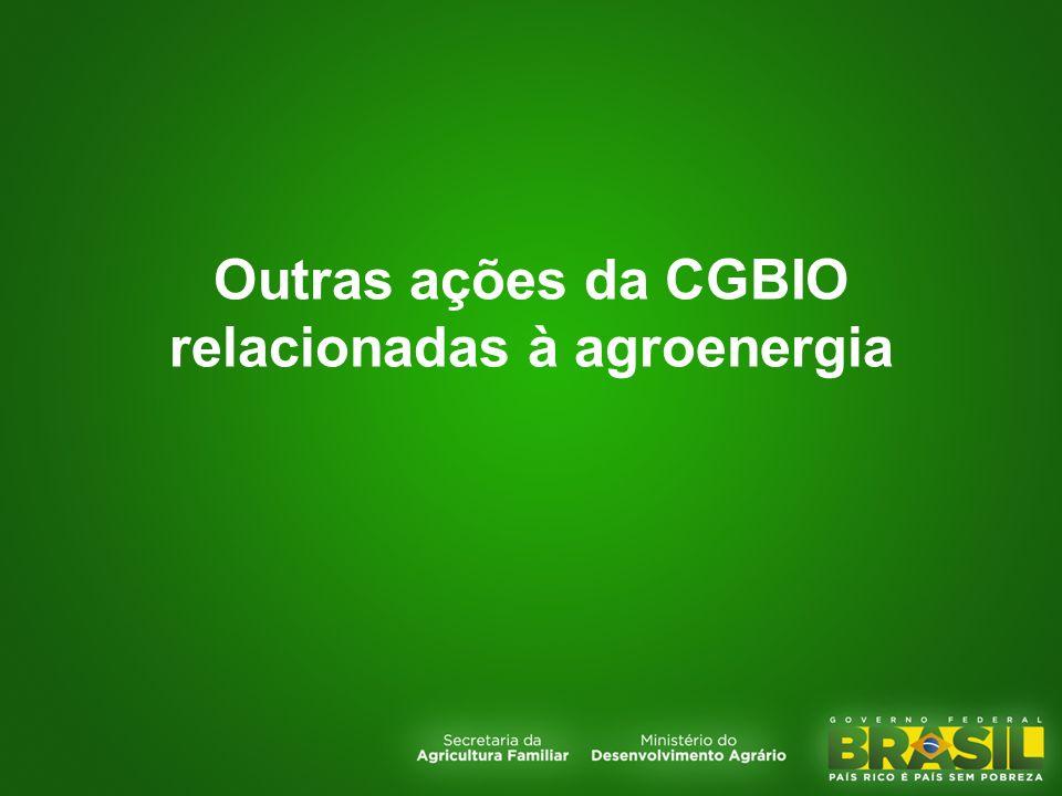 Outras ações da CGBIO relacionadas à agroenergia