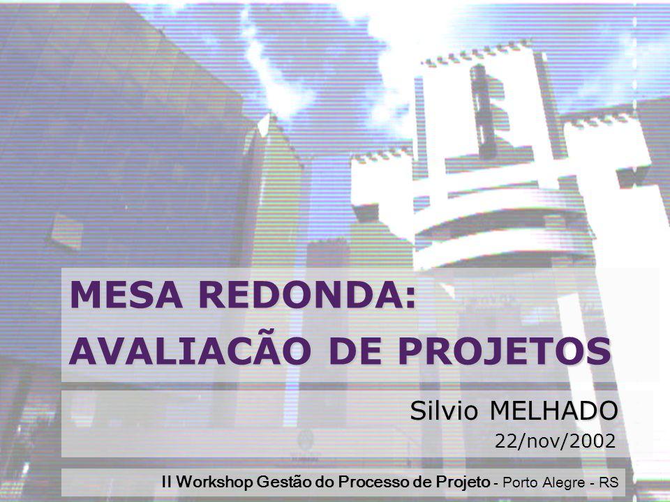 Workshop 2002Silvio MELHADO1 MESA REDONDA: AVALIACÃO DE PROJETOS Silvio MELHADO 22/nov/2002 22/nov/2002 II Workshop Gestão do Processo de Projeto - Porto Alegre - RS