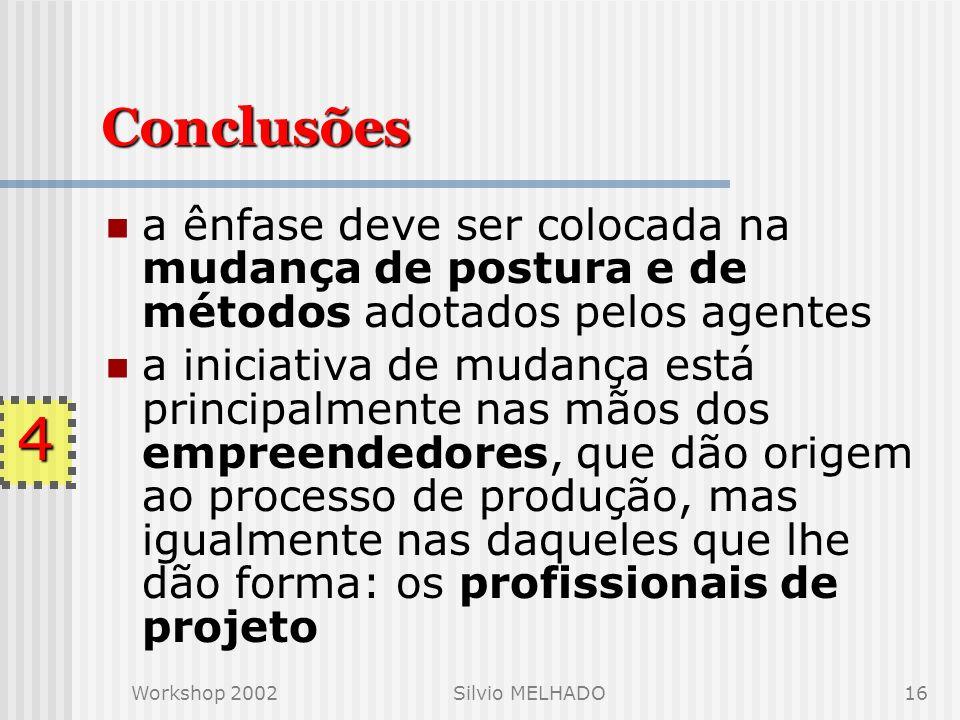 Workshop 2002Silvio MELHADO15 O que se espera das empresas de projeto competências básicas de gestão: a comunicação, a documentação e o tratamento dispensado ao cliente Discussão do que devem ser os níveis progressivos de qualificação para a certificação da qualidade 4