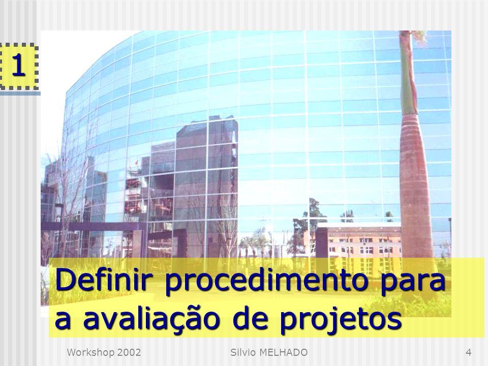 Workshop 2002Silvio MELHADO4 Definir procedimento para a avaliação de projetos 1