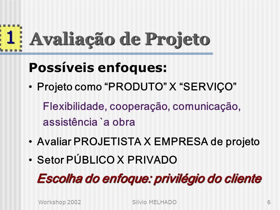 Workshop 2002Silvio MELHADO6 Avaliação de Projeto Possíveis enfoques: Projeto como PRODUTO X SERVIÇO Flexibilidade, cooperação, comunicação, assistência `a obra Avaliar PROJETISTA X EMPRESA de projeto Setor PÚBLICO X PRIVADO Escolha do enfoque: privilégio do cliente 1