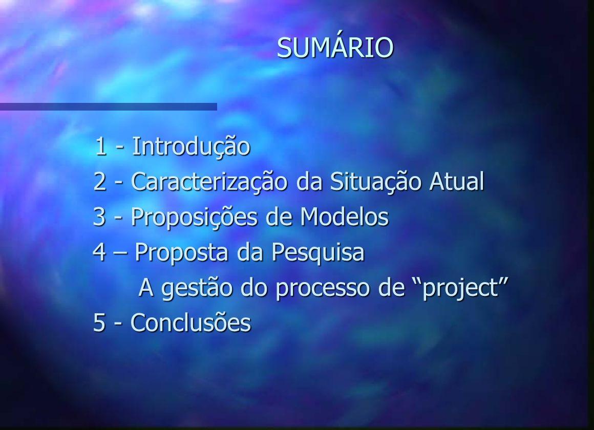 SUMÁRIO 1 - Introdução 1 - Introdução 2 - Caracterização da Situação Atual 2 - Caracterização da Situação Atual 3 - Proposições de Modelos 4 – Proposta da Pesquisa A gestão do processo de project A gestão do processo de project 5 - Conclusões