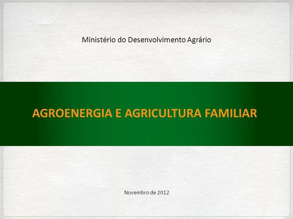 AGROENERGIA E AGRICULTURA FAMILIAR Novembro de 2012 Ministério do Desenvolvimento Agrário