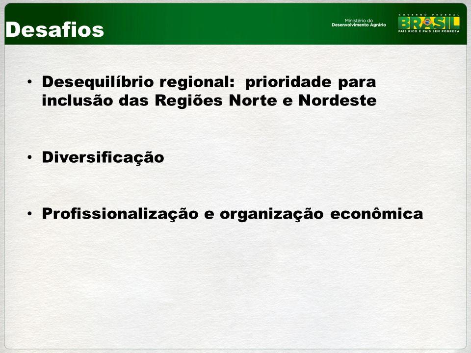 Desafios Desequilíbrio regional: prioridade para inclusão das Regiões Norte e Nordeste Diversificação Profissionalização e organização econômica