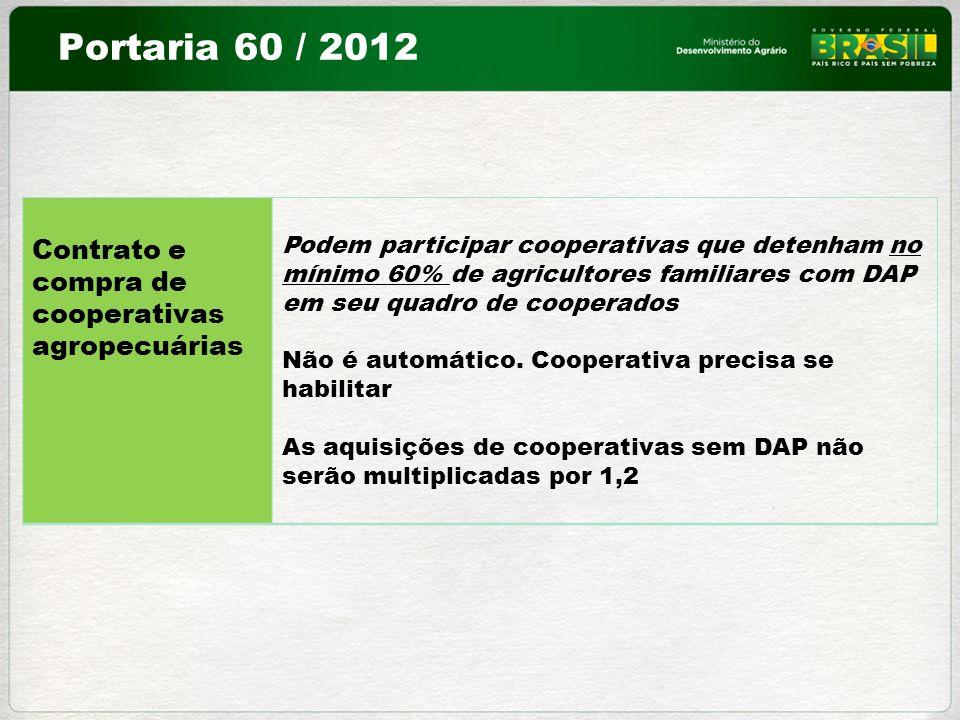 Contrato e compra de cooperativas agropecuárias Podem participar cooperativas que detenham no mínimo 60% de agricultores familiares com DAP em seu qua