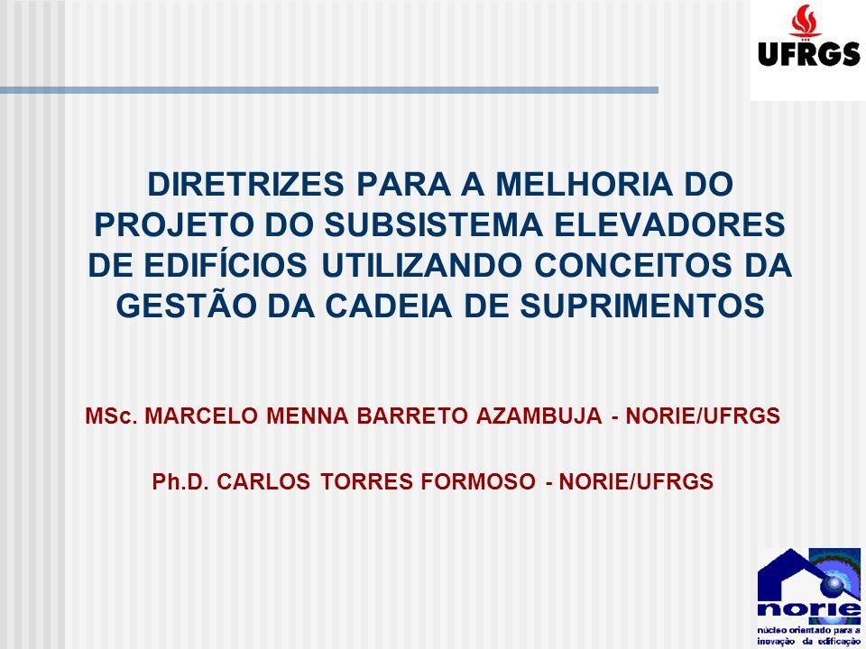 DIRETRIZES PARA A MELHORIA DO PROJETO DO SUBSISTEMA ELEVADORES DE EDIFÍCIOS UTILIZANDO CONCEITOS DA GESTÃO DA CADEIA DE SUPRIMENTOS MSc. MARCELO MENNA