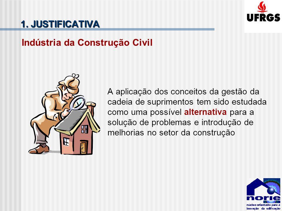 1. JUSTIFICATIVA Indústria da Construção Civil A aplicação dos conceitos da gestão da cadeia de suprimentos tem sido estudada como uma possível altern