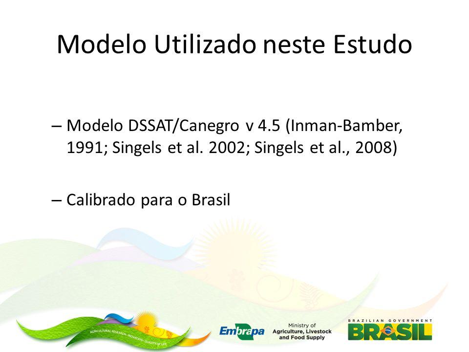 Modelo Utilizado neste Estudo – Modelo DSSAT/Canegro v 4.5 (Inman-Bamber, 1991; Singels et al. 2002; Singels et al., 2008) – Calibrado para o Brasil