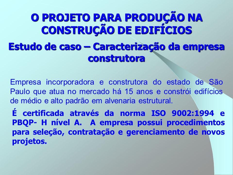 Empresa incorporadora e construtora do estado de São Paulo que atua no mercado há 15 anos e constrói edifícios de médio e alto padrão em alvenaria est