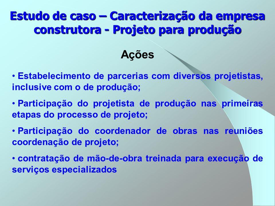 Estudo de caso – Caracterização da empresa construtora - Projeto para produção Ações Estabelecimento de parcerias com diversos projetistas, inclusive