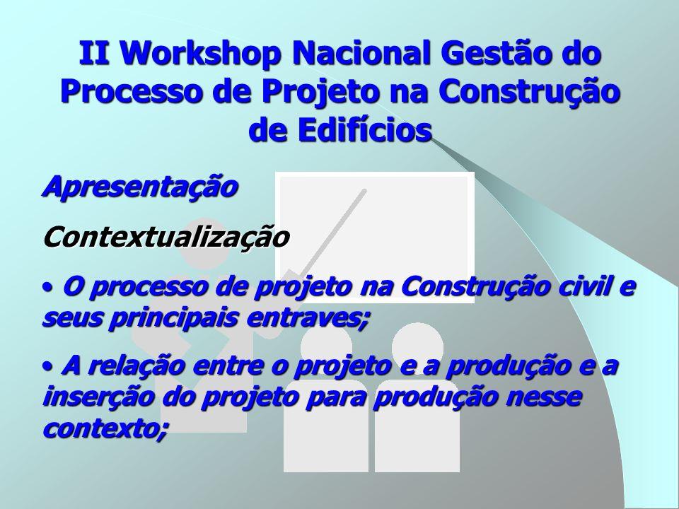 ApresentaçãoContextualização O processo de projeto na Construção civil e seus principais entraves; O processo de projeto na Construção civil e seus pr