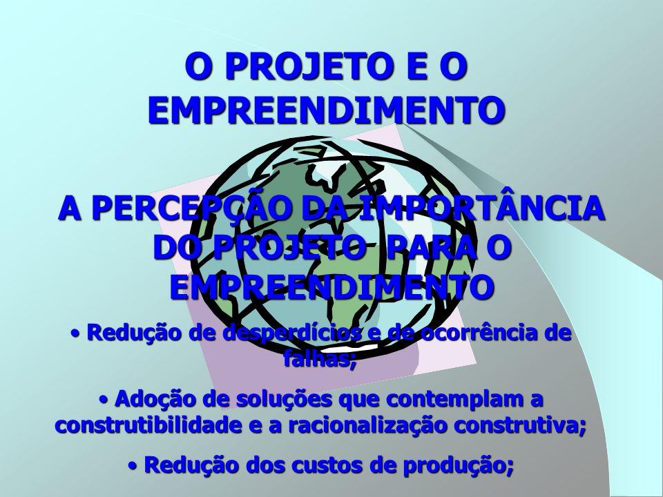 O PROJETO E O EMPREENDIMENTO um novo contexto O projeto como estratégia; O projeto como estratégia; O projeto como subsistema do conjunto de atividades da empresa ; O projeto como subsistema do conjunto de atividades da empresa ; Princípios de engenharia simultânea norteando o processo de projeto; Princípios de engenharia simultânea norteando o processo de projeto; A necessidade de se ter acesso à informação adequada para a elaboração do projeto; A necessidade de se ter acesso à informação adequada para a elaboração do projeto; O projeto como serviço; O projeto como serviço; O projeto realizado por uma equipe multidisciplinar O projeto realizado por uma equipe multidisciplinar Adoção de projetos para produção Adoção de projetos para produção