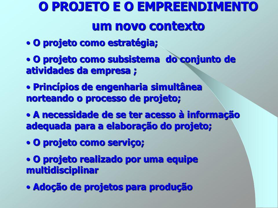 O PROJETO E O EMPREENDIMENTO um novo contexto O projeto como estratégia; O projeto como estratégia; O projeto como subsistema do conjunto de atividade