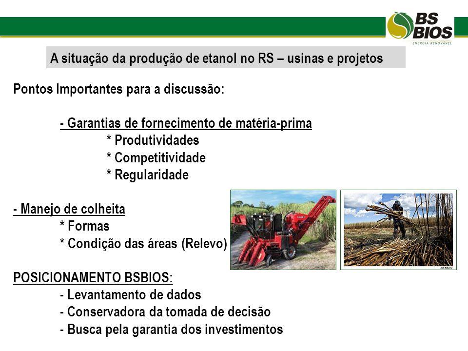A situação da produção de etanol no RS – usinas e projetos Pontos Importantes para a discussão: - Garantias de fornecimento de matéria-prima * Produti