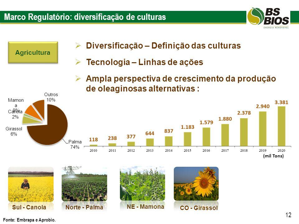 Marco Regulatório: diversificação de culturas Fonte: Embrapa e Aprobio. 12 Diversificação – Definição das culturas Tecnologia – Linhas de ações Ampla