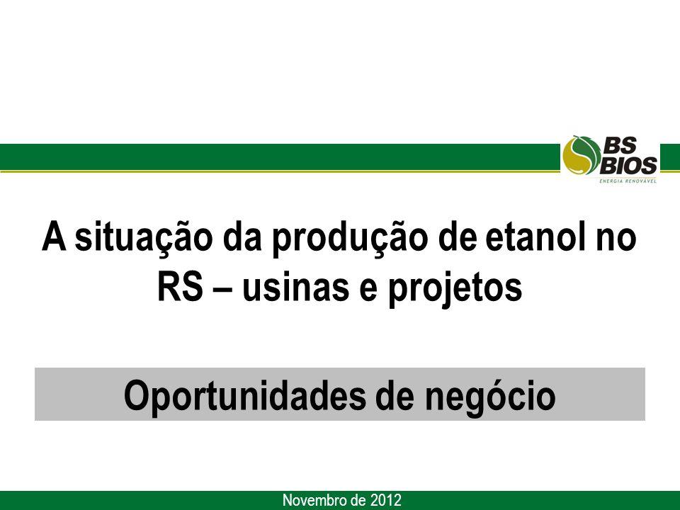 A situação da produção de etanol no RS – usinas e projetos Novembro de 2012 Oportunidades de negócio