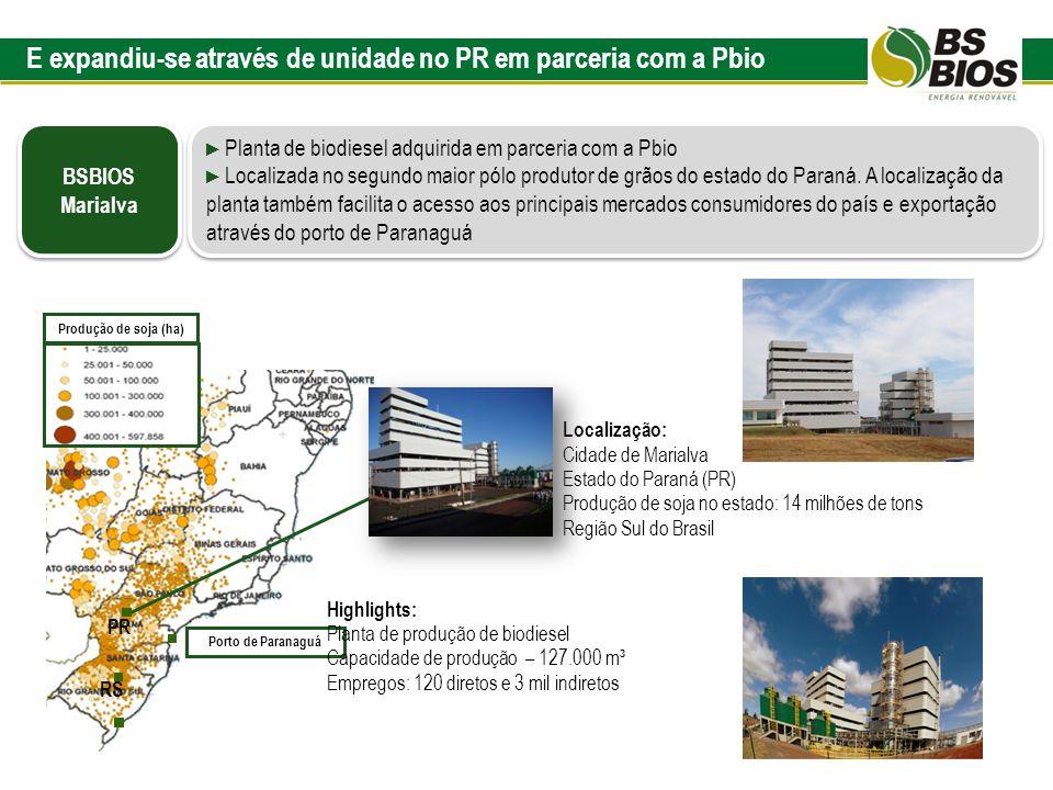 Planta de biodiesel adquirida em parceria com a Pbio Localizada no segundo maior pólo produtor de grãos do estado do Paraná. A localização da planta t