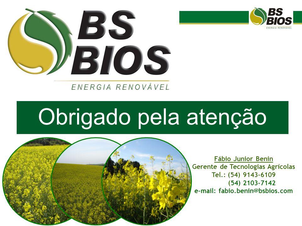 Obrigado pela atenção Fábio Junior Benin Gerente de Tecnologias Agrícolas Tel.: (54) 9143-6109 (54) 2103-7142 e-mail: fabio.benin@bsbios.com