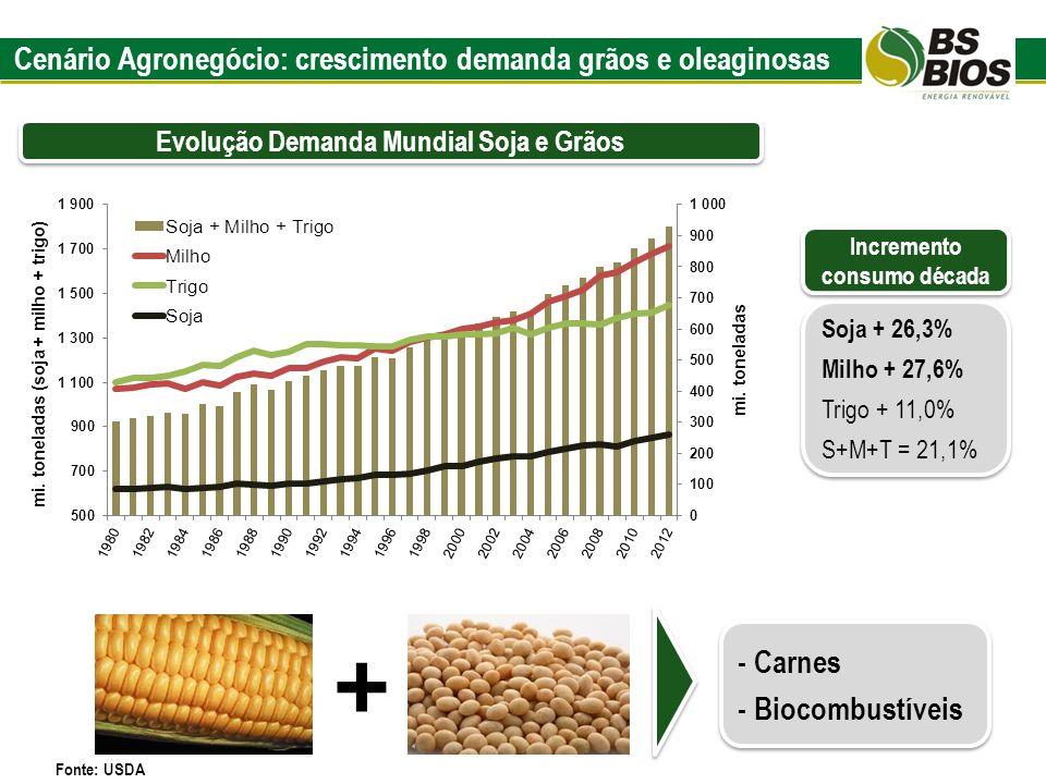 Cenário Agronegócio: crescimento demanda grãos e oleaginosas Evolução Demanda Mundial Soja e Grãos Soja + 26,3% Milho + 27,6% Trigo + 11,0% S+M+T = 21
