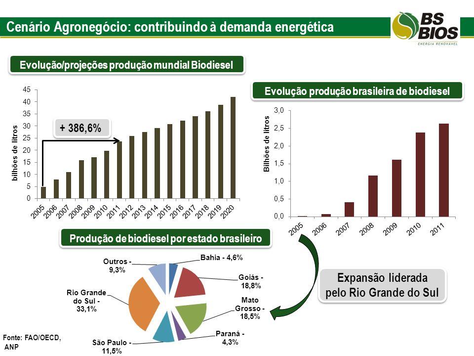 Cenário Agronegócio: contribuindo à demanda energética Evolução/projeções produção mundial Biodiesel Fonte: FAO/OECD, ANP Evolução produção brasileira