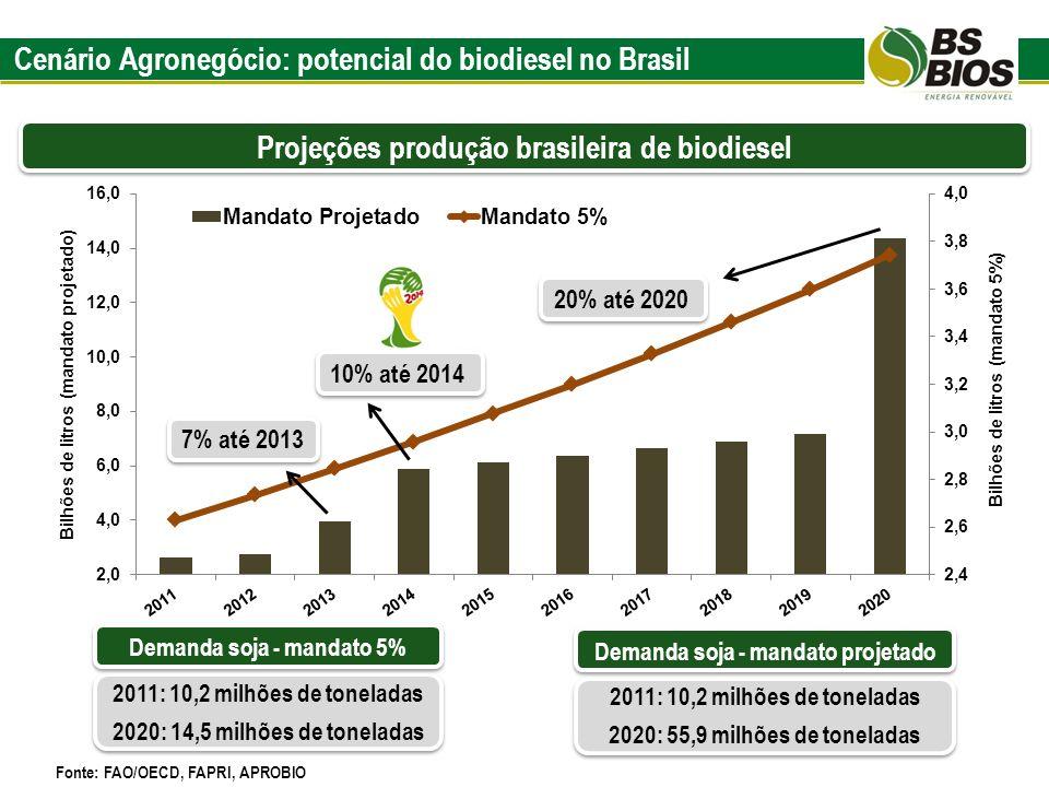 Cenário Agronegócio: potencial do biodiesel no Brasil Projeções produção brasileira de biodiesel Fonte: FAO/OECD, FAPRI, APROBIO 7% até 2013 10% até 2