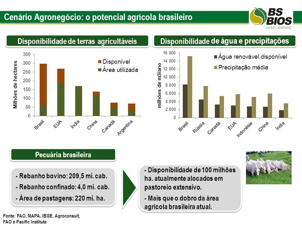 Cenário Agronegócio: o potencial agrícola brasileiro Disponibilidade de terras agricultáveis Fonte: FAO, MAPA, IBGE, Agroconsult, FAO e Pacific Instit