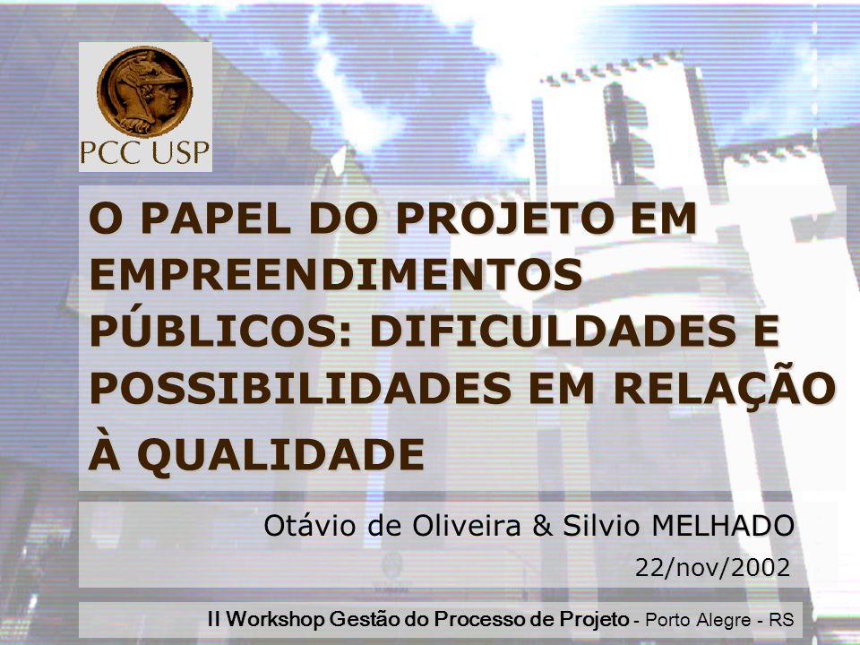 Workshop 2002Silvio MELHADO1 O PAPEL DO PROJETO EM EMPREENDIMENTOS PÚBLICOS: DIFICULDADES E POSSIBILIDADES EM RELAÇÃO À QUALIDADE Silvio MELHADO Otávio de Oliveira & Silvio MELHADO 22/nov/2002 22/nov/2002 II Workshop Gestão do Processo de Projeto - Porto Alegre - RS