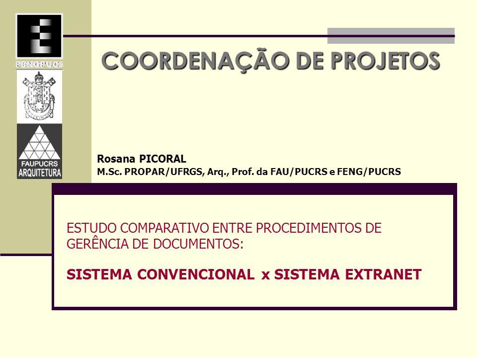 COORDENAÇÃO DE PROJETOS Rosana PICORAL M.Sc. PROPAR/UFRGS, Arq., Prof. da FAU/PUCRS e FENG/PUCRS ESTUDO COMPARATIVO ENTRE PROCEDIMENTOS DE GERÊNCIA DE