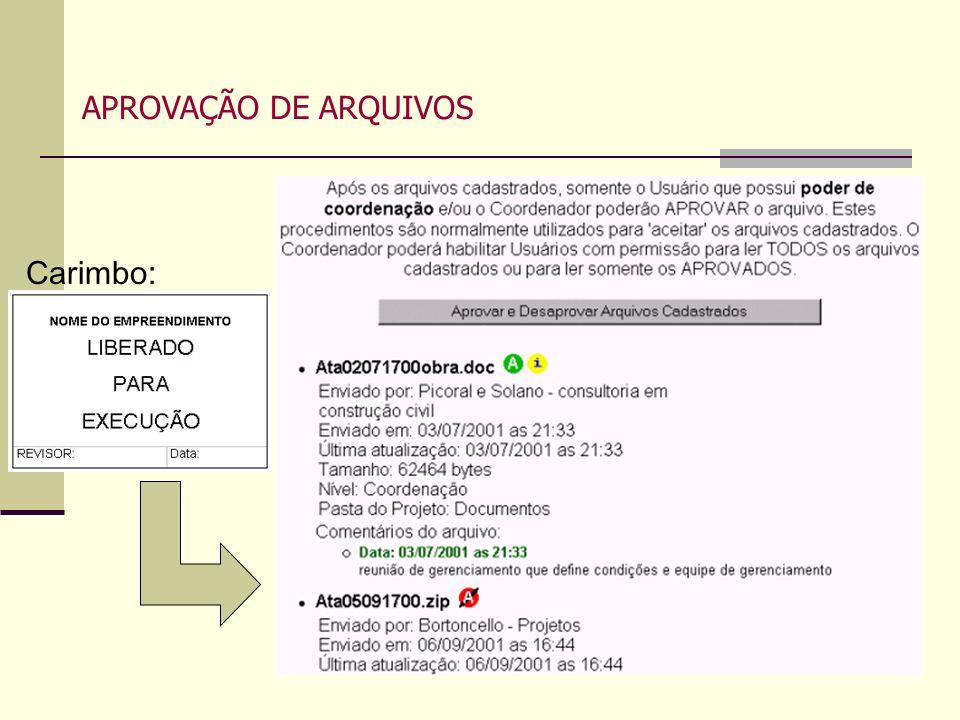 10 APROVAÇÃO DE ARQUIVOS Carimbo:
