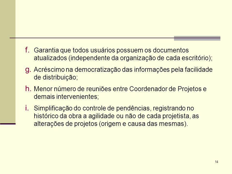 14 f. Garantia que todos usuários possuem os documentos atualizados (independente da organização de cada escritório); g. Acréscimo na democratização d