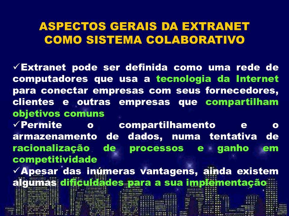 Extranet pode ser definida como uma rede de computadores que usa a tecnologia da Internet para conectar empresas com seus fornecedores, clientes e out