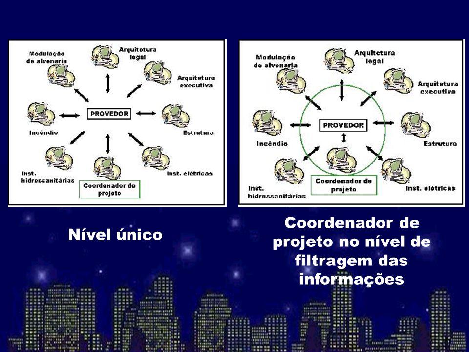 Nível único Coordenador de projeto no nível de filtragem das informações