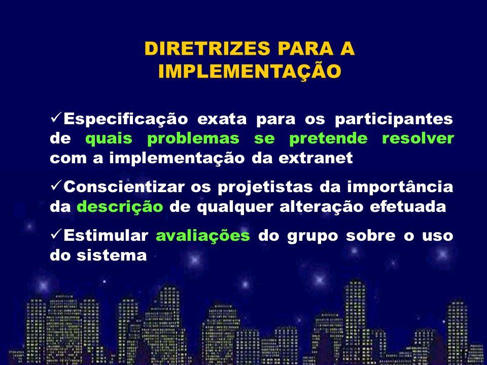 Especificação exata para os participantes de quais problemas se pretende resolver com a implementação da extranet Conscientizar os projetistas da impo
